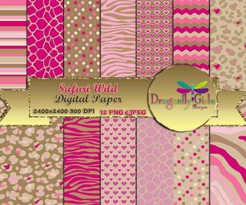 Safari Wild digital paper, commercial use, scrapbook papers