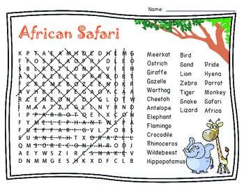 Safari Word Search