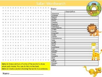 Safari Wordsearch Sheet Starter Activity Keywords Animals Holiday