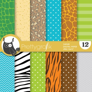 Safari animal papers, commercial use, scrapbook papers - PS757