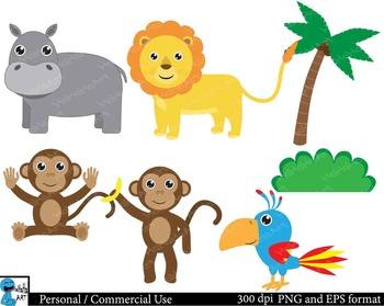 Safari animals  Digital Clip Art Graphics  21 images cod24