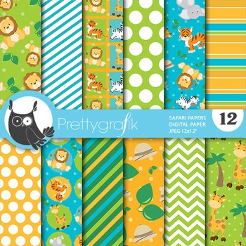 Safari animals digital paper, commercial use, scrapbook papers - PS652
