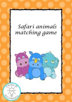 Safari animals flashcards matching game colour