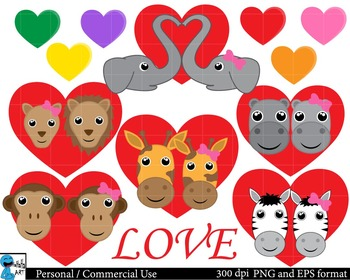 Safari animals in love Clipart Personal, Commercial Use 13 images cod105