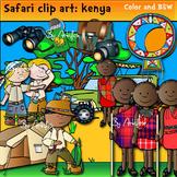 Safari clip art. Kenya -Color and B&W.