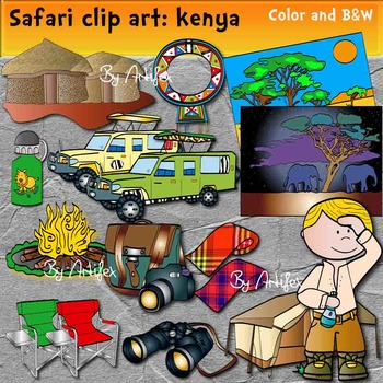 Safari clip art. Kenya -Color and B&W.