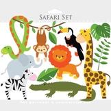 Safari clipart - safari clip art lion monkey giraffe zebra elephant animals