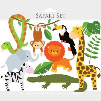 Safari clipart - safari clip art lion monkey giraffe zebra elephant animals