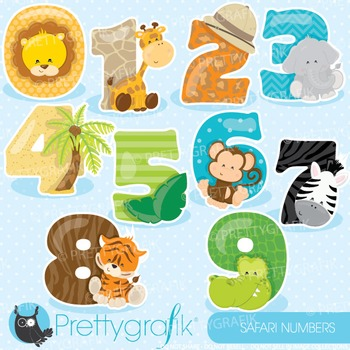 Safari numbers clipart commercial use, graphics, digital c