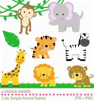 Safari or Jungle Animals Clip Art - Clipart - Tiger Giraffe Lion Monkey Elephant