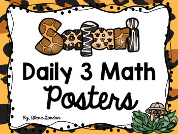 Safari or Jungle-Themed Daily 3 Math Station Signs