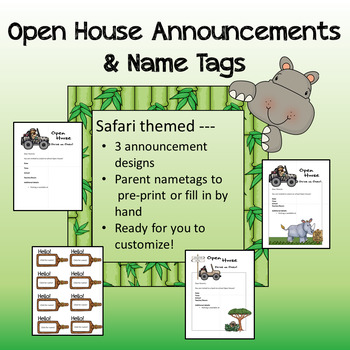 Safari theme - Open House Announcements and Parent Nametags