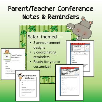 Safari theme - Parent / Teacher Conference Notes & Reminders
