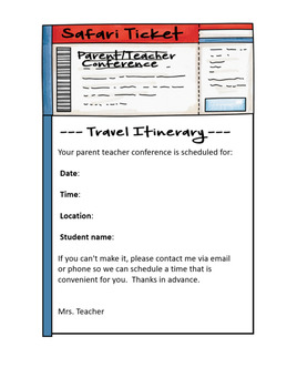 Safari / Jungle theme - Parent / Teacher Conference Notes
