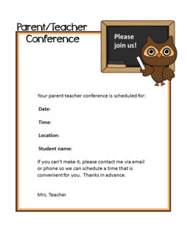Owl theme - Parent / Teacher Conference Notes & Reminders