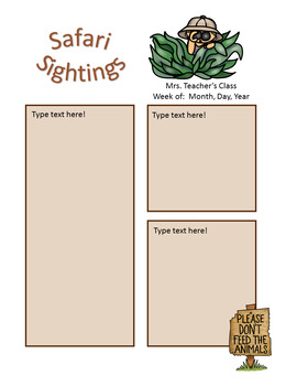 Safari / Jungle theme - Weekly Newsletters