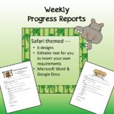 Safari / Jungle theme - Weekly Progress Reports