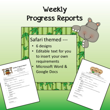 Safari / Jungle theme - Weekly Progress Reports