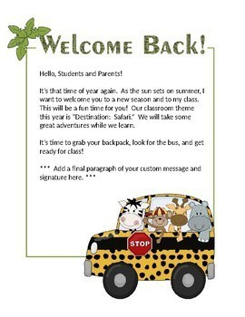Safari theme - Welcome back letters