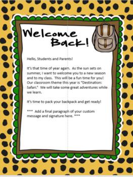 Safari / Jungle theme - Welcome back letters
