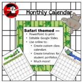 Safari / Jungle theme monthly calendar