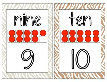 Safari themed number cards 1-20
