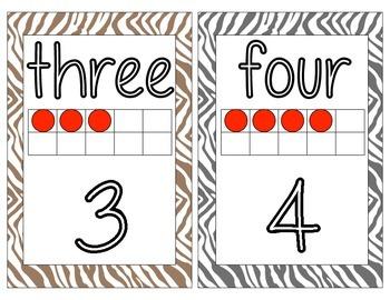 Safari themed number cards 1-20