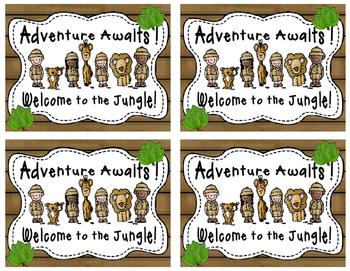 Safari themed welcome postcards