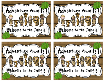 Safari themed welcome postcards