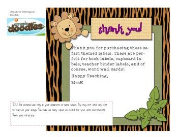Safari/Jungle Themed Labels