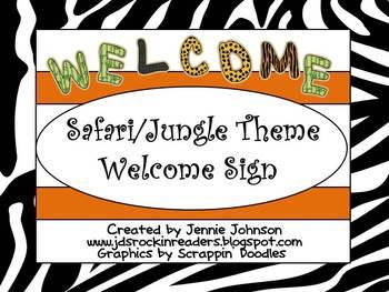 Safari/Jungle Welcome Sign FREEBIE