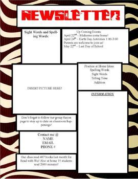 Safari/Zebra Print Newsletter Template