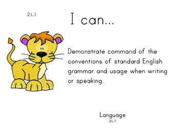 Safarianimalselephant 2nd grade English Common core standards posters