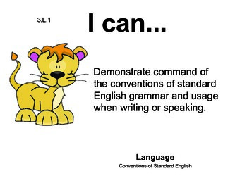Safarianimalselephant 3rd grade English Common core standards posters