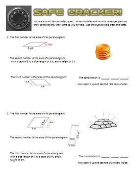 Safe Cracker - Area of Parallelograms - Math Fun!