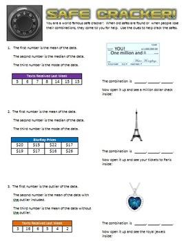 Safe Cracker - Mean, Median, Mode, & Outliers - Math Fun!
