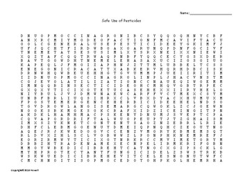 Safe Use of Pesticides Word Search for Ag. Science Students