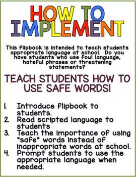Safe Word Flipbook for Students With Special Needs