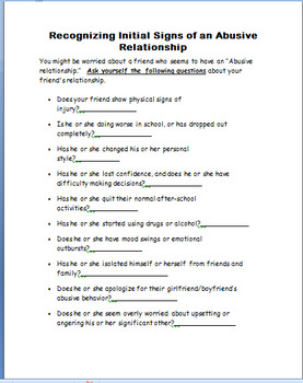 "Abuse ""Identifying Teen Abusive Relationships""-  lesson on dating abuse"