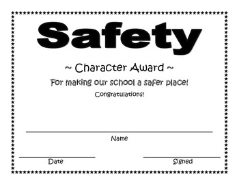 Safety Character Award