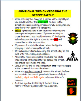 """Crossing the Street Safely""-lesson plan, 3 activities, coloring pages"