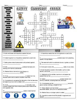 Safety Crossword Puzzle By Bearcat Science Teachers Pay Teachers