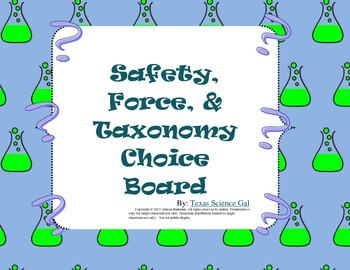 Lab Safety + More Choice Board