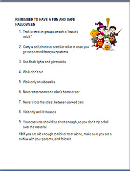 Halloween Safety Rules- Lesson,Cut and Paste safety rules,coloring