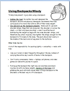 """""""Backpack Safety""""lesson and Activity"""