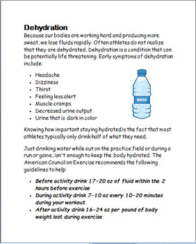 """"""" Safety and Hydration During Sports and Recreational Activities""""-lesson/ quiz"""