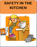 Kitchen Safety for Kids,  lesson, assessment, writing prompt, coloring page