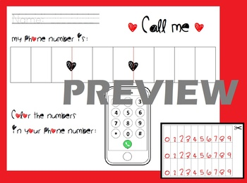 Safety - Learn My Phone Number Practice - Cut & Paste & Color Activity
