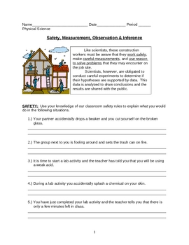 Safety Measurement Observation Inference Worksheet By Lesson