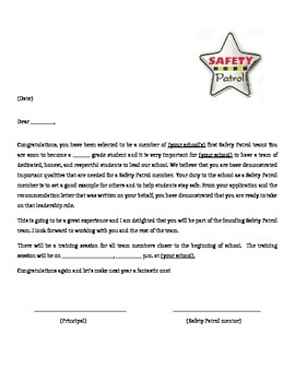 Safety patrol acceptance letter by teacher mischief tpt safety patrol acceptance letter thecheapjerseys Choice Image